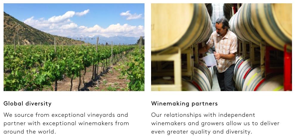 世界中のワインメーカーとパートナー契約を結んでおり、100種類以上のワインから選べる