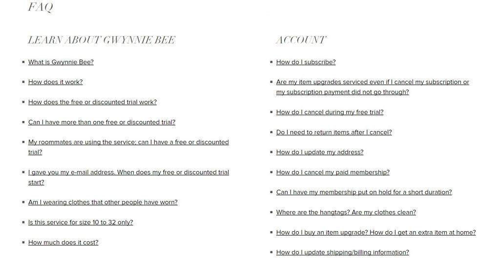 「Gwynnie Bee」では基本的な質問についてはFAQで網羅することができます