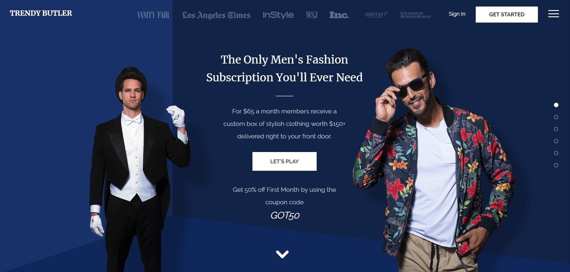 メンズファッションのサブスクリプション「TrendyButlar」