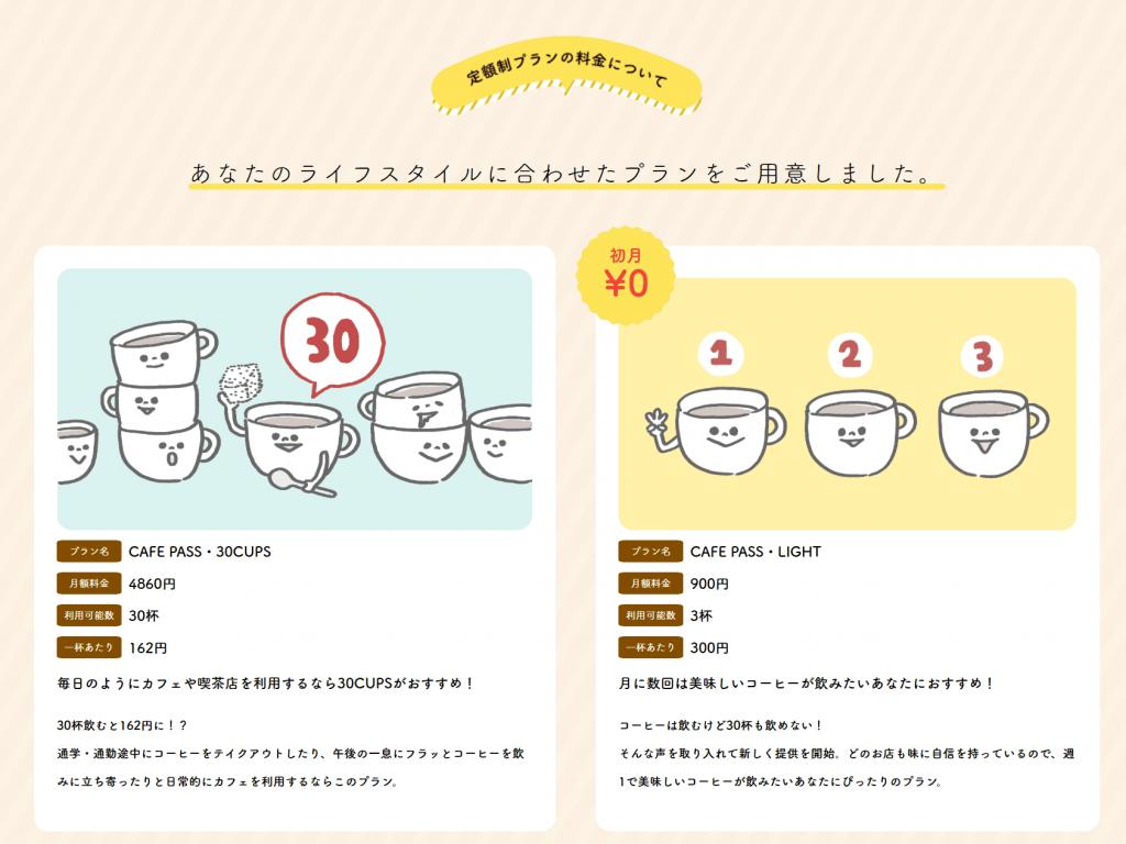 カフェの定額制メニュー