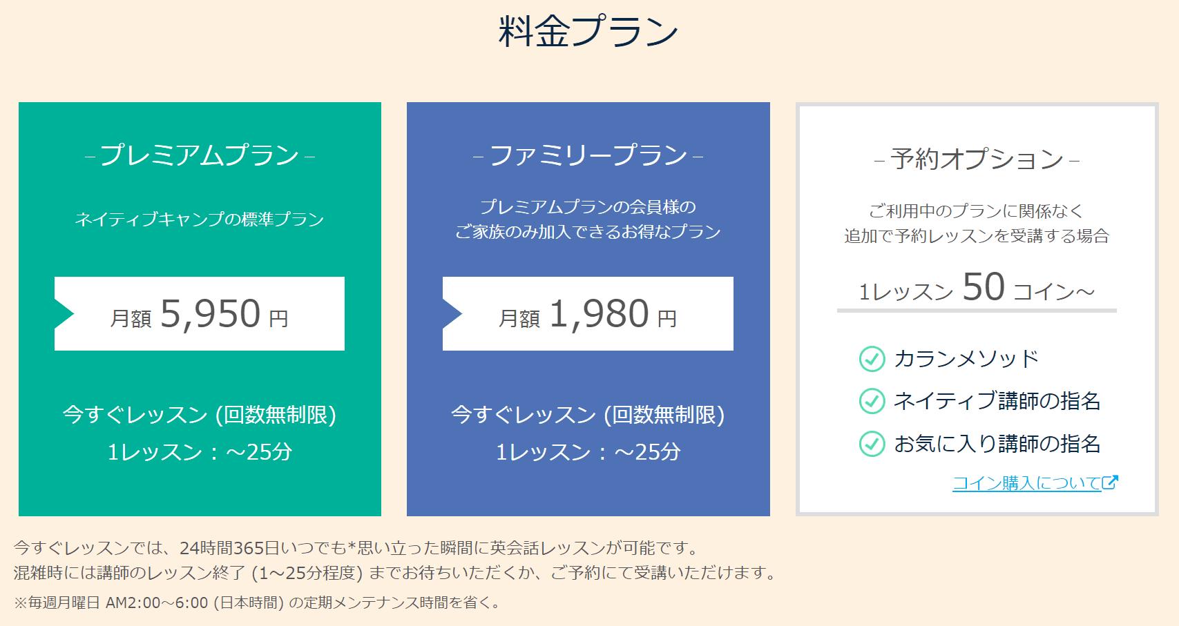 定額制ネイティブキャンプの料金体系